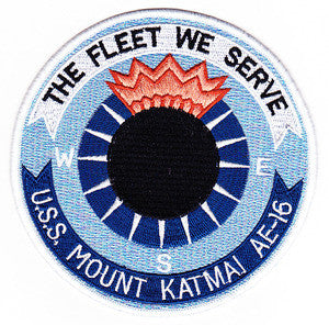 AE-16 USS MOUNT KATMAI Ammunition Ship Military Patch THE FLEET WE SERVE