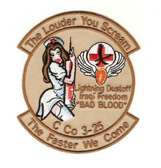 ARMY 3rd Aviation Squadron 25th Division Company C Military Patch THE LOUDER YOU SCREAM THE FASTER WE COME BAD BLOOD