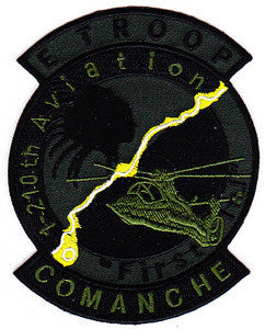 ARMY E Troop 1st Battalion 210th Aviation Attack Helocopter Regiment Military Patch FIRST IN COMANCHE OD
