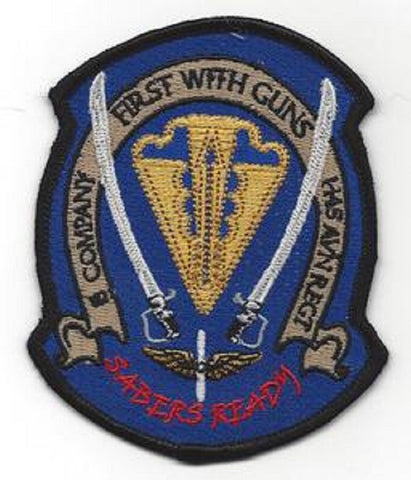 1st Battalion 145th Aviation Company B Military Patch FIRST WITH GUNS SABERS READY