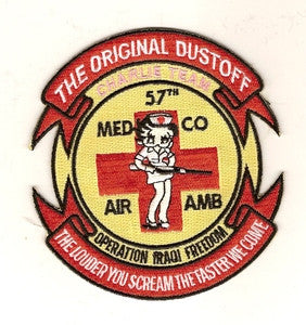 ARMY 57th Medical Company Charlie Team Air Ambulance Military Patch THE ORIGINAL DUSTOFF THE LOUDER YOU SCREAM THE FASTER WE COME