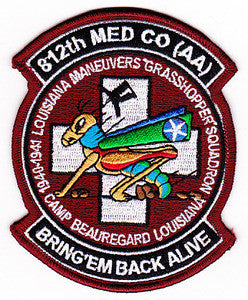 "ARMY 812th Aviation Med Co AA Dustoff Military Patch 1940-1941 LOUISIANA MANEUVERS ""GRASSHOPPER"" SQUADRON BRING'EM BACK ALIVE"