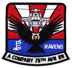 78th Aviation Battalion A Company Military Patch JAPAN RAVENS