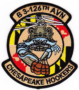 ARMY 3rd Squadron 126th Aviation Regiment B Company Military Patch CHESAPEAKE HOOKERS