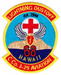ARMY 3rd Aviation Squadron 25th Division Company C Military Patch LIGHTNING DUSTOFF 68 HAWAII