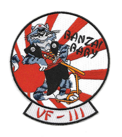 VF-111 US NAVY Aviation Fighter Squadron One Hundred Eleven Military Patch TOMCAT BANZAI BABY