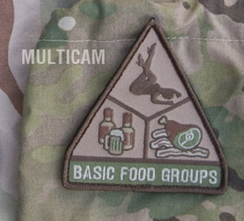 BASIC FOOD GROUPS TACTICAL COMBAT MORALE BADGE PATCH - MULTICAM