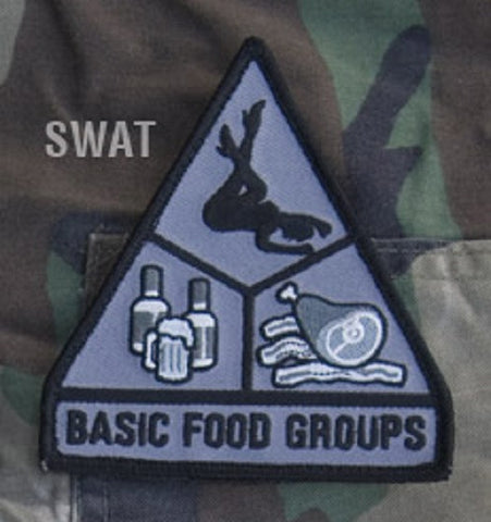 BASIC FOOD GROUPS TACTICAL COMBAT MORALE BADGE PATCH - SWAT
