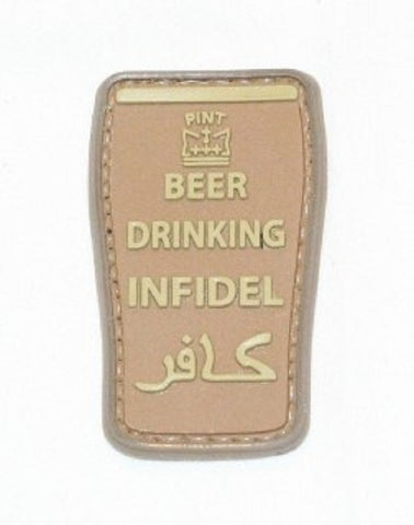 BEER DRINKING INFIDEL PINT 3D PVC HOOK BACKING PATCH - DESERT