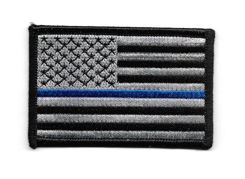 Thin Blue Line USA Flag Iron-On Patch