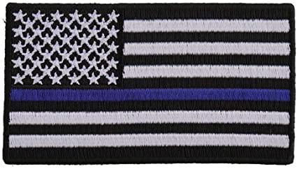 USA Flag Thin Blue Line Iron-On Patch