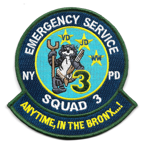 NYPD Squad 3 Emergency Service Unit Tomcat Collectors Patch - ANYTIME IN THE BRONX
