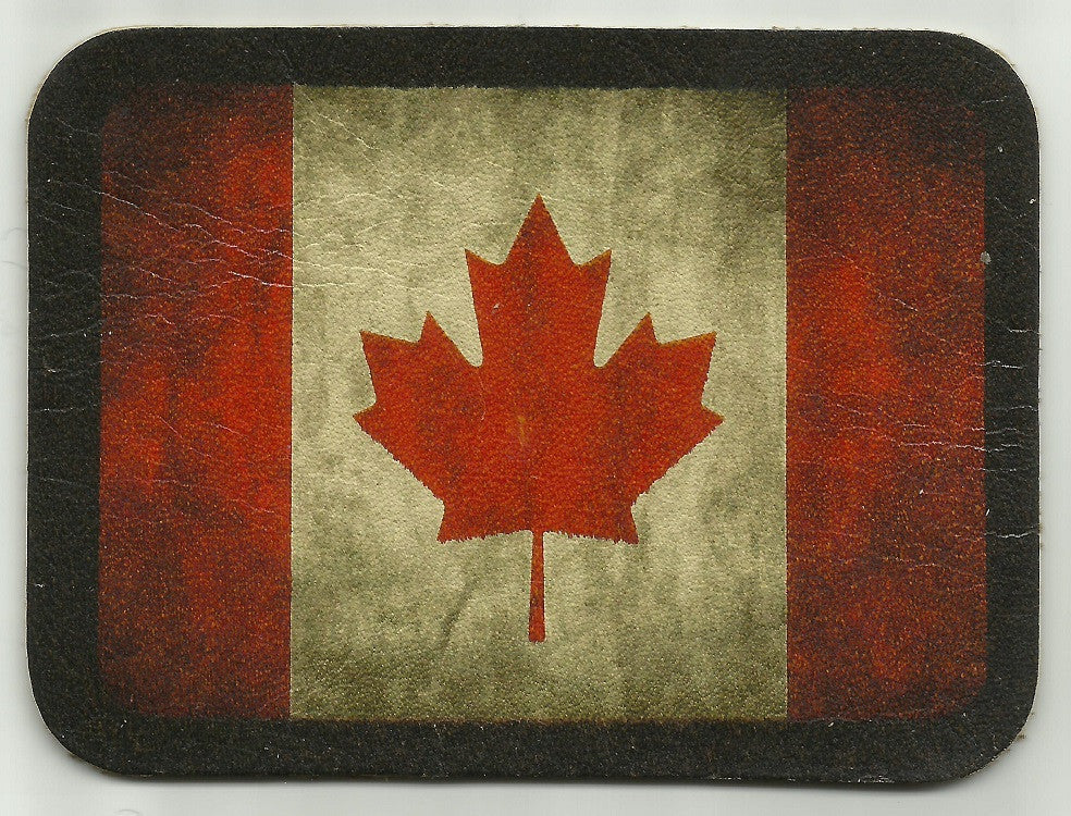 Beau VINTAGE STYLE CANADIAN FLAG LEATHER PATCH