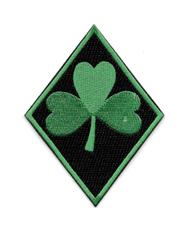 Green Clover Diamond Embroidered Patch