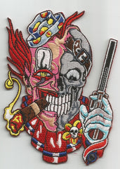 CLOWN SKULL WITH GUN BIKER PATCH