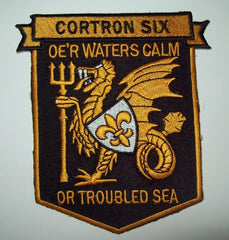 "CORTRON SIX (ESCORT SQUADRON) US NAVY MILITARY PATCH ""OE'R WATERS CALM...."