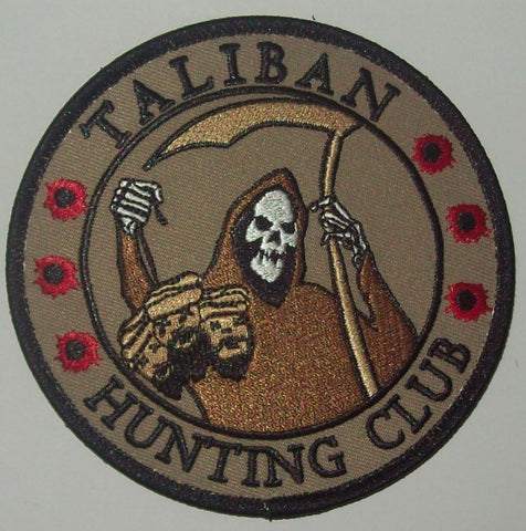 TALIBAN HUNTING CLUB DEATH REAPER HEAD HUNTER HOOK MORALE COMBAT PATCH - DESERT