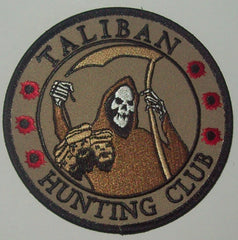TALIBAN HUNTING CLUB DEATH REAPER HEAD HUNTER VELCRO MORALE PATCH - DESERT