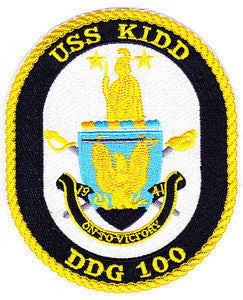 DDG-100 USS KIDD Navy Guided Missiles Destroyer Military Patch ON TO VICTORY