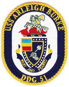 DDG-51 USS Arleigh Burke Guided Missile Destroyer Military Patch FAST AND FEARED