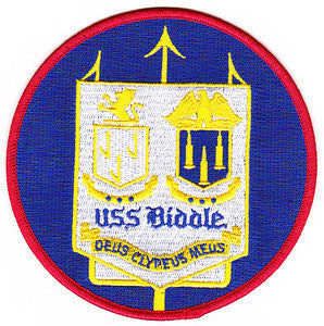 DDG-5 USS Biddle United States and NATO Crew Navy Guided Missile Destroyer Military Patch DELIS CLYPEUS MEUS