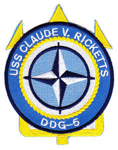 DDG-5 USS Claude V Ricketts Navy Guided Missile Destroyer Military Patch