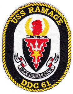 DDG-61 USS RAMAGE Navy Guided Missile Destroyer Military Patch PAR EXCELLENCE