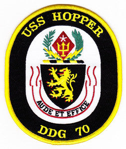 DDG-70 USS Hooper Guided Missile Destroyer SHIP CREST Military Patch AUDE ET EFFICE