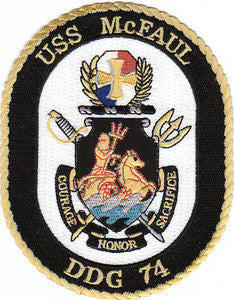 DDG-74 USS McFaul Guided Missile Destroyer Military Patch COURAGE HONOR SACRIFICE