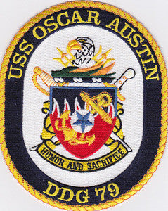 DDG-79 USS Oscar Austin Navy Guided Missile Destroyer Military Patch HONOR AND SACRIFICE