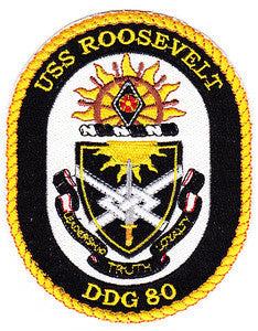DDG-80 USS Roosevelt Guided Missile Destroyer Military Patch LEADERSHIP TRUTH LOYALTY