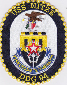 DDG-94 USS Nittze  Guided Missile Destroyer Military Patch VISION COURAGE DETERMINATION