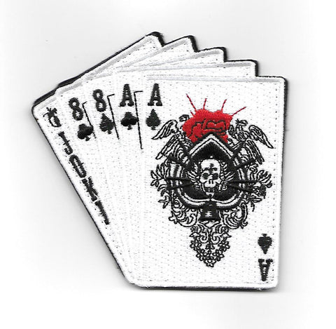 Dead Man's Hand Hook & Loop Patch - White