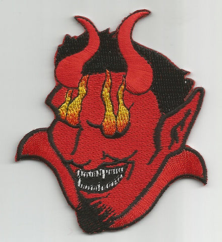 DEVIL HEAD WITH FLAMES PATCH