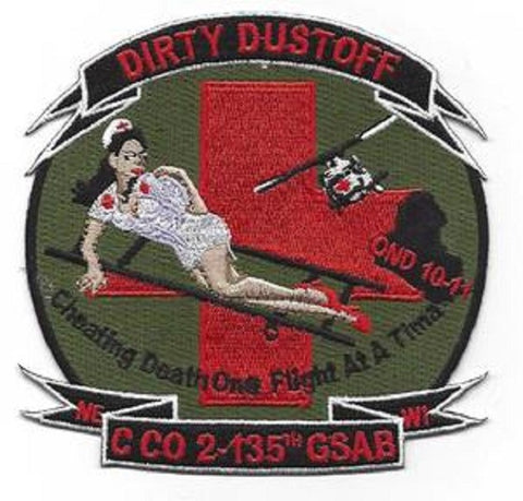 "ARMY 2nd Battalion 135th Aviation Regiment C Company ""DIRTY DUSTOFF"" Military Patch GSAB - Cheating Death"