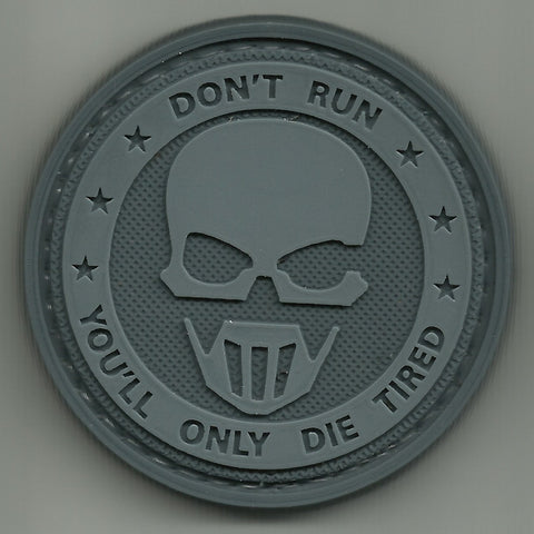 DON'T RUN GHOSTS 3D PVC RUBBER HOOK BACKING PATCH - DARK OPS