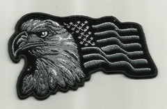 SILVER EAGLE WITH AMERICAN FLAG PATCH