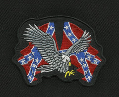 EAGLE WITH REBEL CONFEDERATE FLAGS PATCH