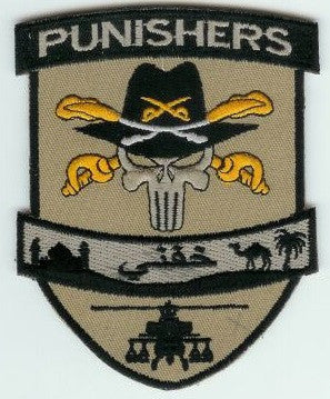 STETSON PUNISHER SKULL ARMY AVIATION DESERT ARABIC MILITARY PATCH