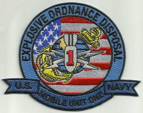 EXPLOSIVE ORDNANCE DISPOSAL MOBILE UNIT ONE EODMU 1 MILITARY PATCH