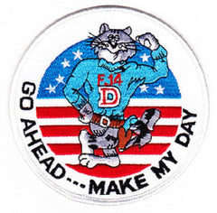 F-14D TOMCAT Fighter Squadron Military Patch GO AHEAD --- MAKE MY DAY