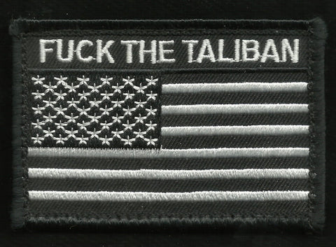 FUCK THE TALIBAN USA FLAG HOOK BACKING MORALE COMBAT PATCH - Black & White