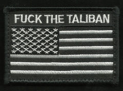 FUCK THE TALIBAN USA FLAG VELCRO MORALE PATCH - Black & White