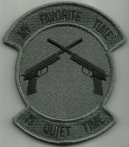 MY FAVORITE TIME IS QUIET TIME HOOK BACKING MORALE TACTICAL PATCH - ACU DARK
