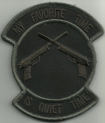 MY FAVORITE TIME IS QUIET TIME HOOK BACKING MORALE TACTICAL PATCH - DARK OPS