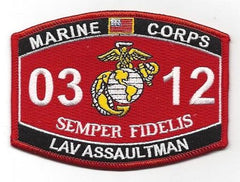 0312 LAV ASSAULTMAN USMC MOS MILITARY PATCH SEMPER FIDELIS