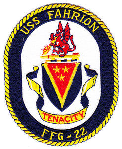 FFG-22 USS FAHRION Oliver Hazard Perry Class Guided Missile Frigate Military Patch TENACITY