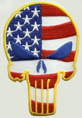 PUNISHER SKULL VELCRO MORALE PATCH - USA FLAG