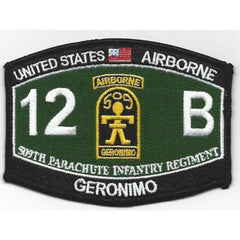 509th Parachute Infantry Regiment 12B Airborne Geronimo Army Patch