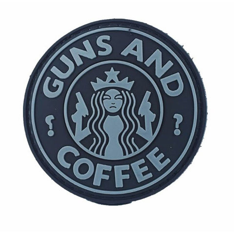 GUNS AND COFFEE 3D PVC HOOK BACKING PATCH - Dark Ops
